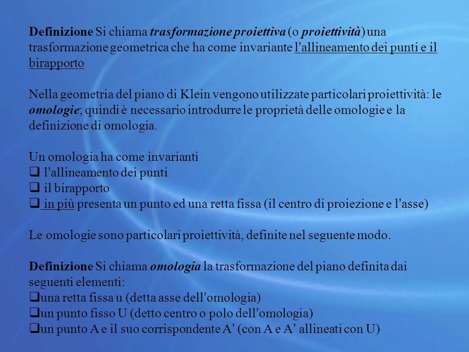 Definizione Si chiama trasformazione proiettiva (o proiettività) una trasformazione geometrica che ha come invariante l'allineamento dei punti e il birapporto
