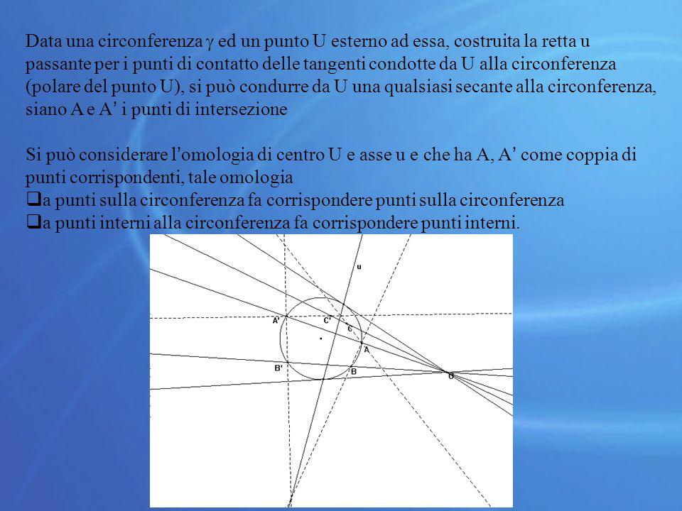 Data una circonferenza  ed un punto U esterno ad essa, costruita la retta u passante per i punti di contatto delle tangenti condotte da U alla circonferenza (polare del punto U), si può condurre da U una qualsiasi secante alla circonferenza, siano A e A' i punti di intersezione