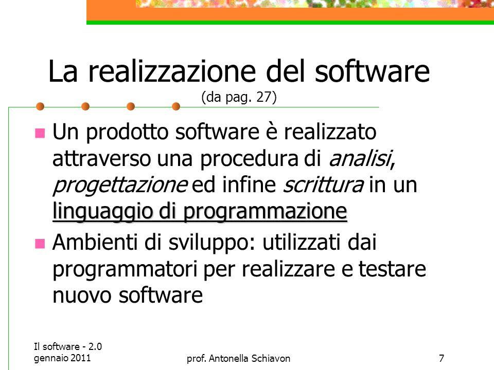 La realizzazione del software (da pag. 27)