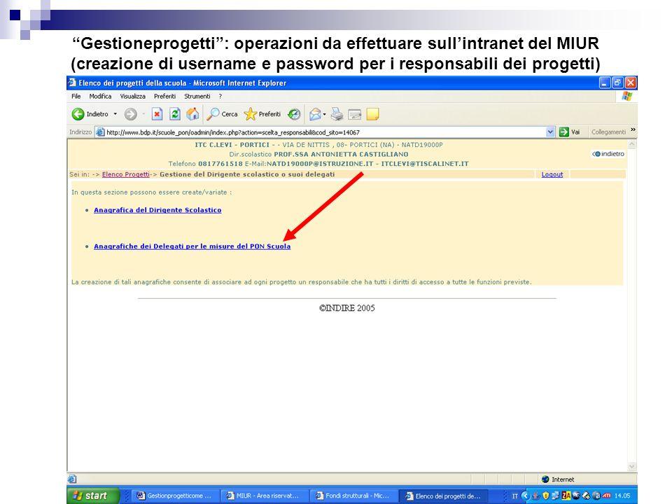 Gestioneprogetti : operazioni da effettuare sull'intranet del MIUR (creazione di username e password per i responsabili dei progetti)