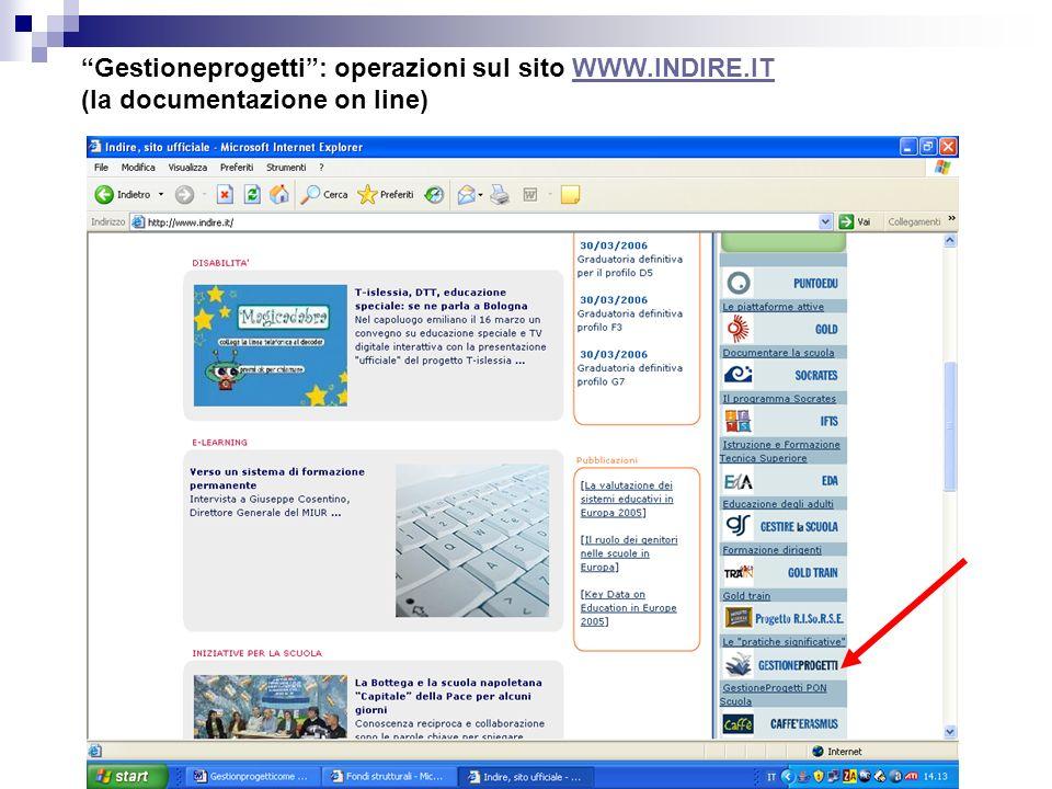 Gestioneprogetti : operazioni sul sito WWW.INDIRE.IT