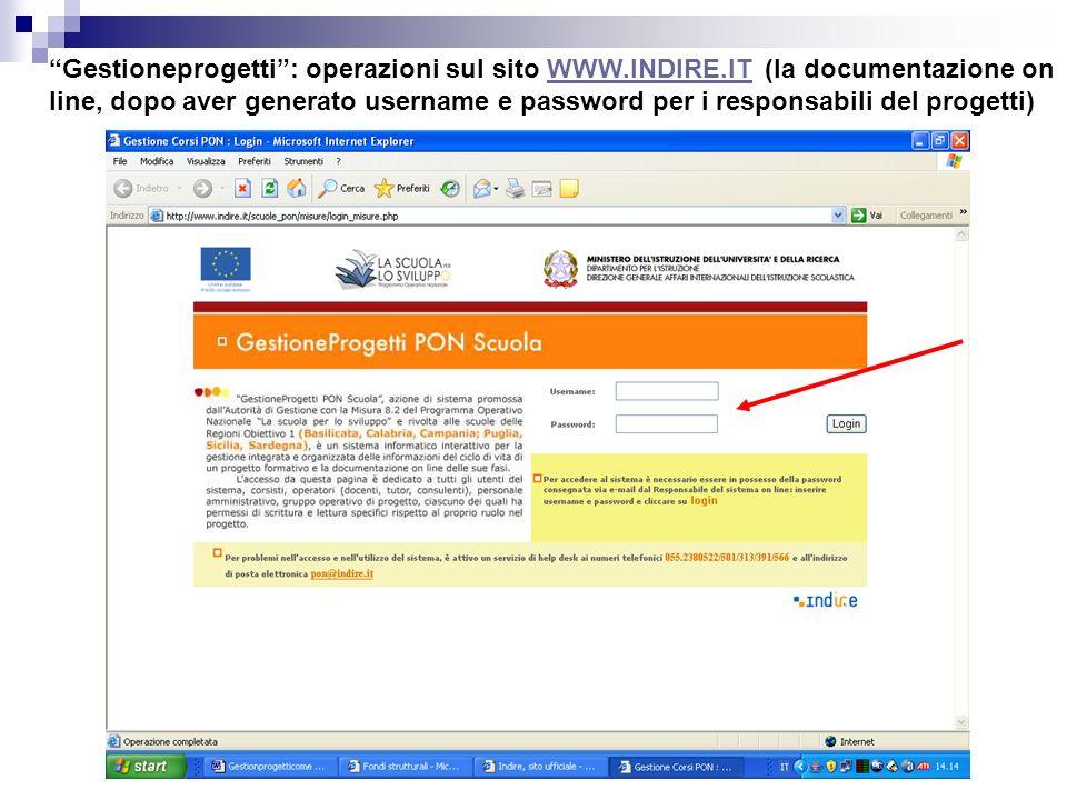 Gestioneprogetti : operazioni sul sito WWW. INDIRE