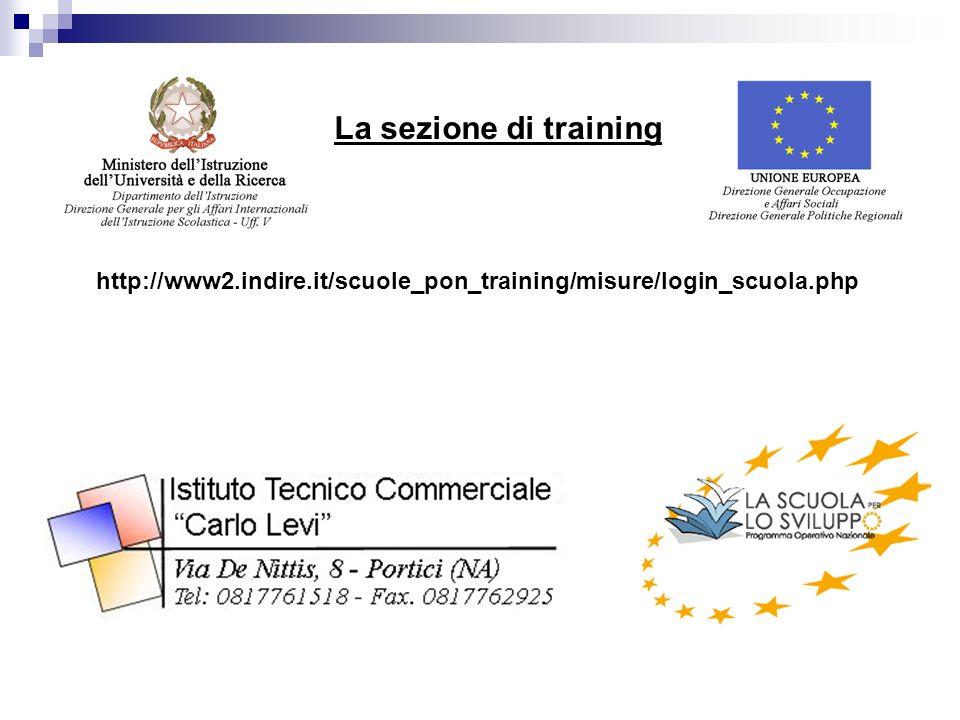 La sezione di training http://www2.indire.it/scuole_pon_training/misure/login_scuola.php
