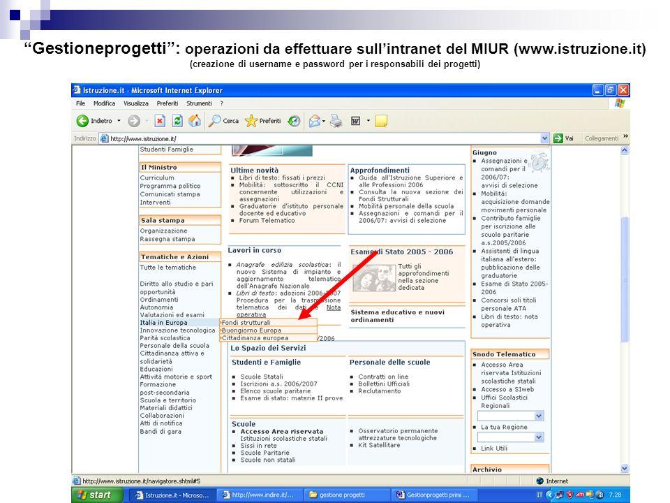 (creazione di username e password per i responsabili dei progetti)