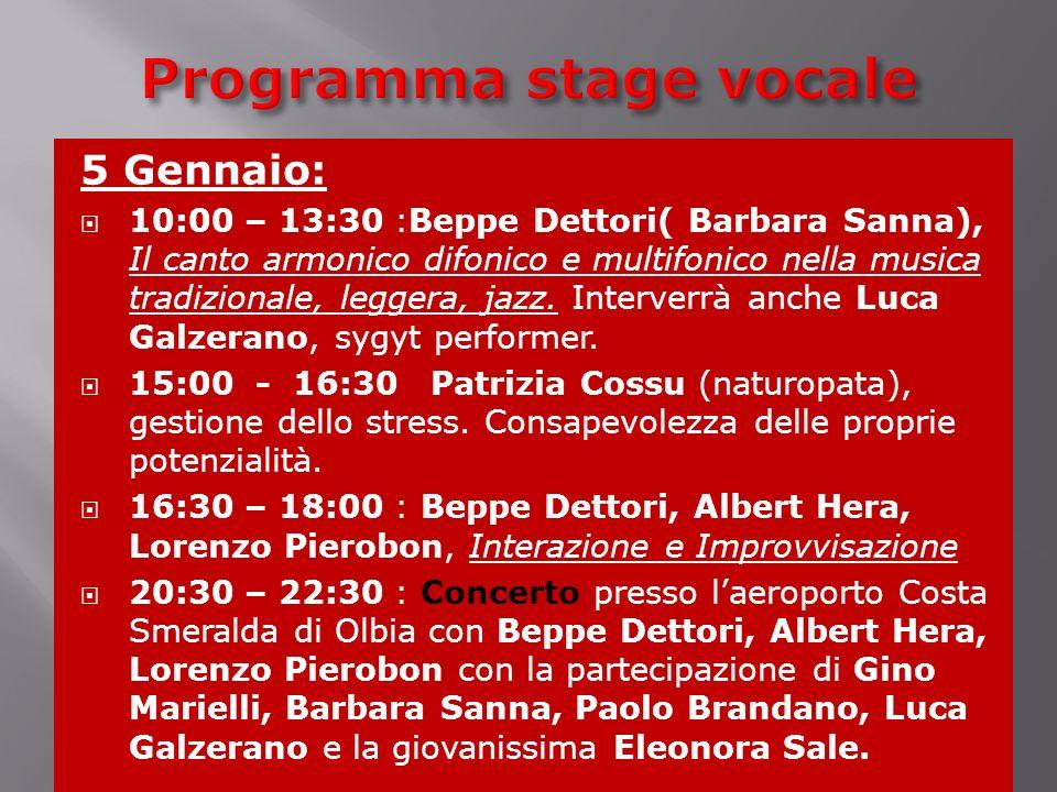 Programma stage vocale