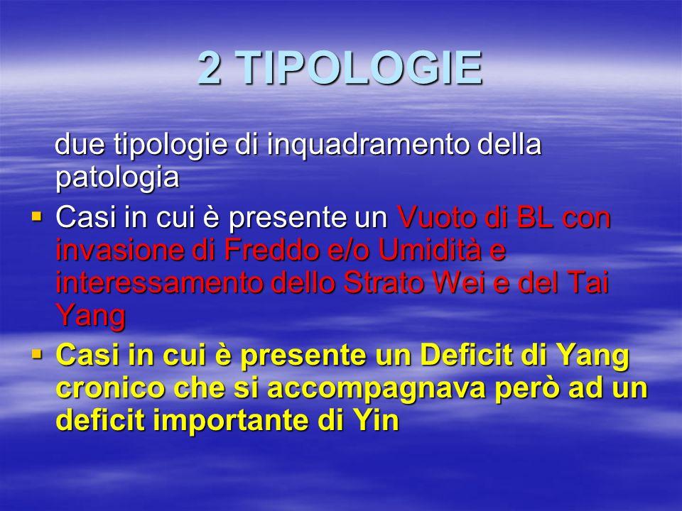 2 TIPOLOGIE due tipologie di inquadramento della patologia