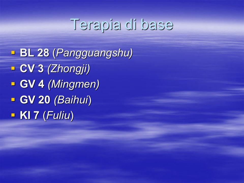 Terapia di base BL 28 (Pangguangshu) CV 3 (Zhongji) GV 4 (Mingmen)