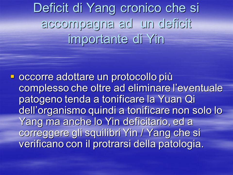 Deficit di Yang cronico che si accompagna ad un deficit importante di Yin
