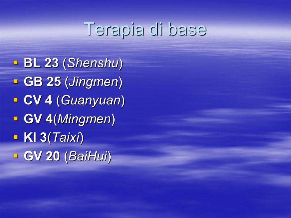 Terapia di base BL 23 (Shenshu) GB 25 (Jingmen) CV 4 (Guanyuan)