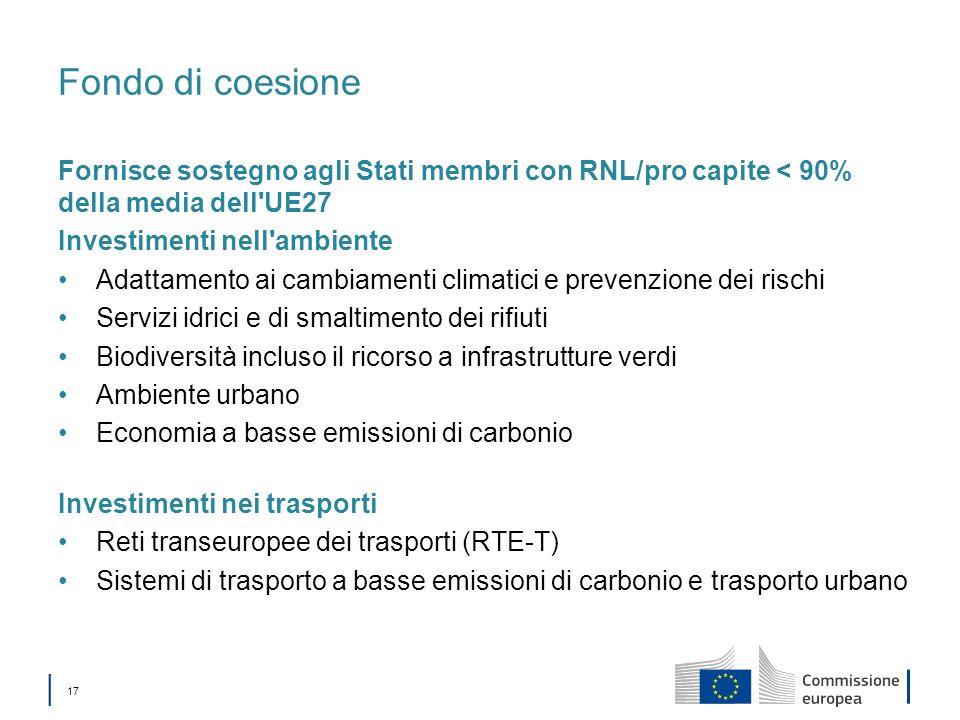 Fondo di coesione Fornisce sostegno agli Stati membri con RNL/pro capite < 90% della media dell UE27.