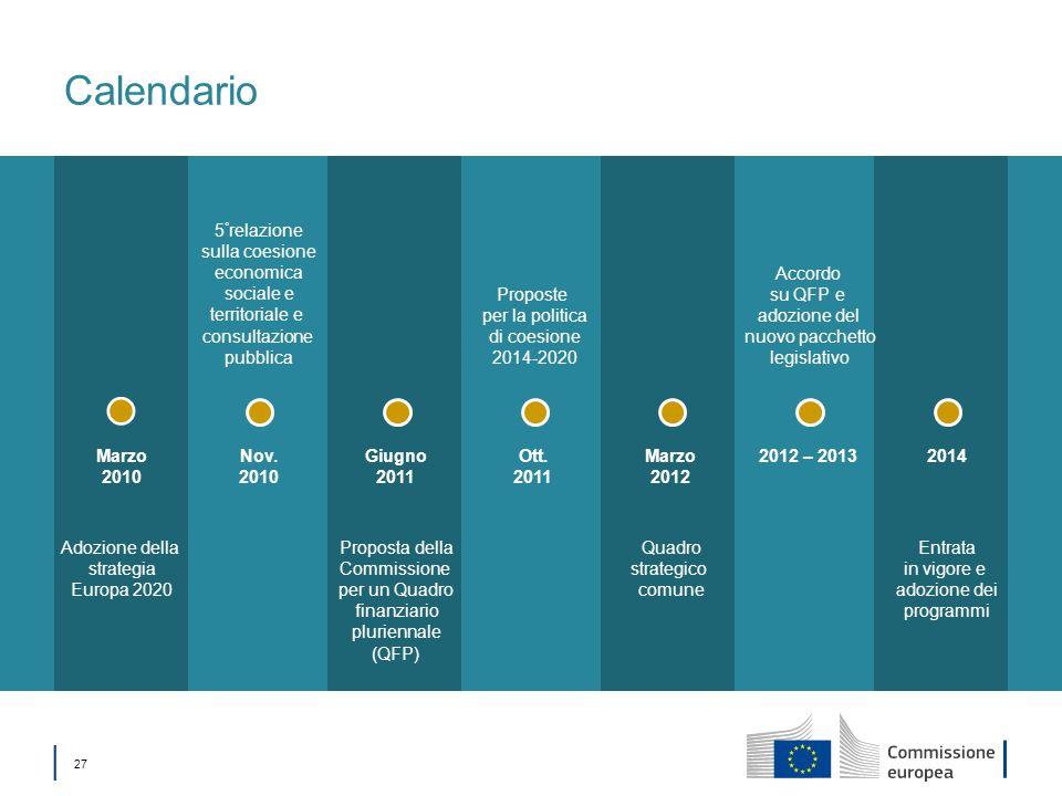 Calendario 5°relazione sulla coesione economica sociale e