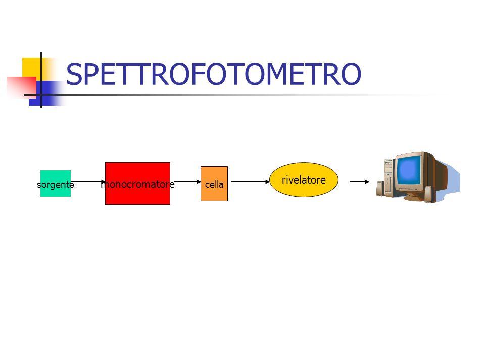 SPETTROFOTOMETRO monocromatore rivelatore cella sorgente