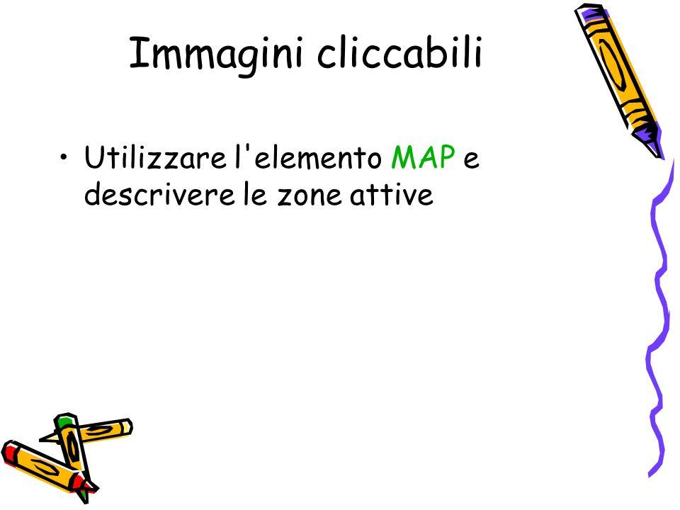 Immagini cliccabili Utilizzare l elemento MAP e descrivere le zone attive