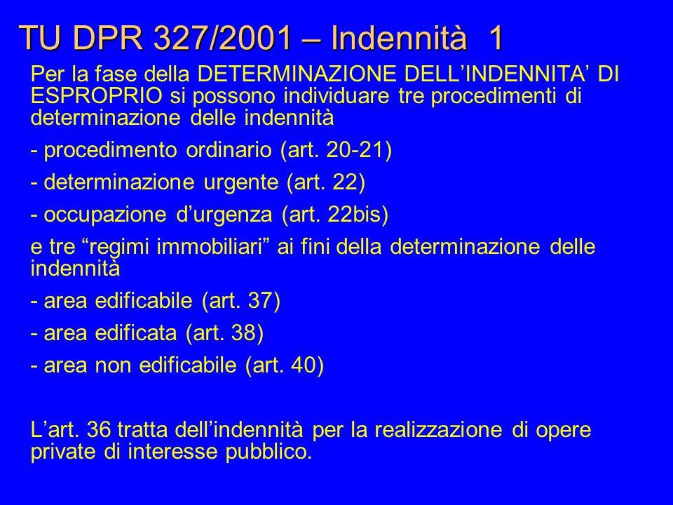 TU DPR 327/2001 – Indennità 1