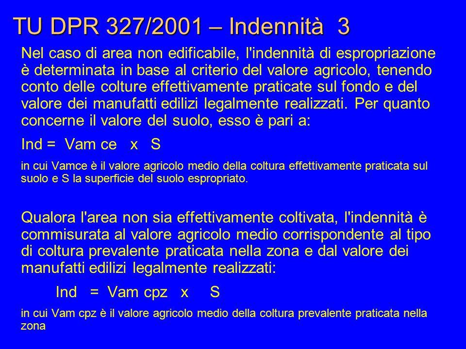 TU DPR 327/2001 – Indennità 3