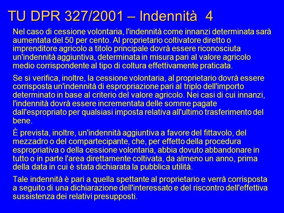 TU DPR 327/2001 – Indennità 4