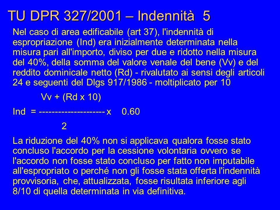 TU DPR 327/2001 – Indennità 5