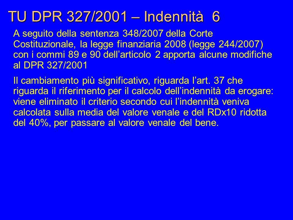 TU DPR 327/2001 – Indennità 6
