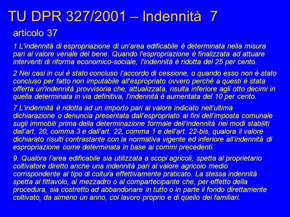 TU DPR 327/2001 – Indennità 7 articolo 37