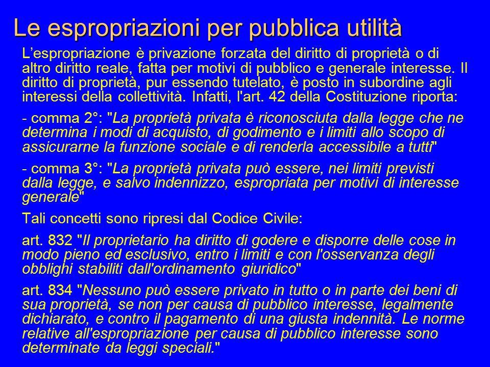 Le espropriazioni per pubblica utilità