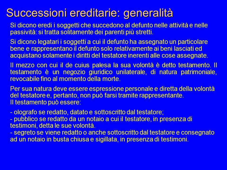 Successioni ereditarie: generalità