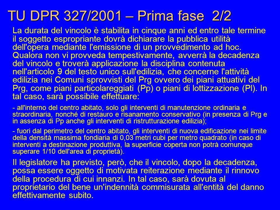 TU DPR 327/2001 – Prima fase 2/2