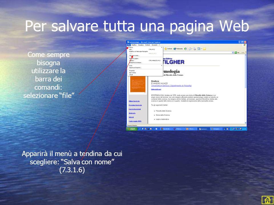Per salvare tutta una pagina Web