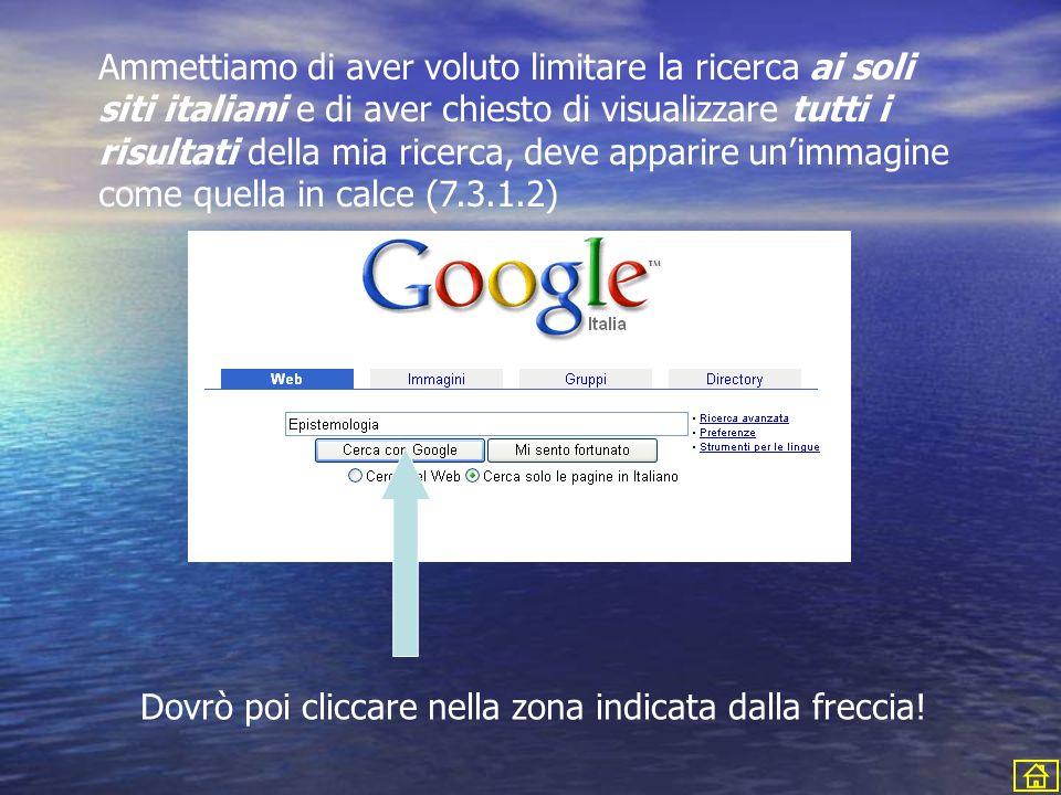 Ammettiamo di aver voluto limitare la ricerca ai soli siti italiani e di aver chiesto di visualizzare tutti i risultati della mia ricerca, deve apparire un'immagine come quella in calce (7.3.1.2)