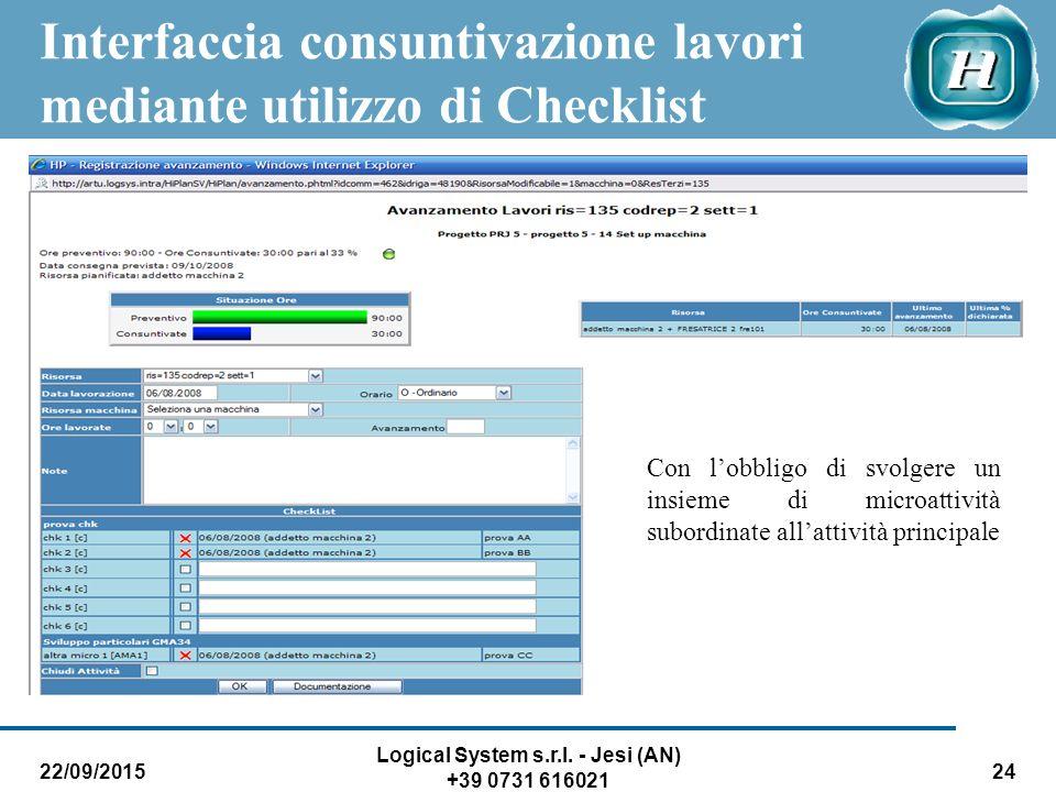 Interfaccia consuntivazione lavori mediante utilizzo di Checklist