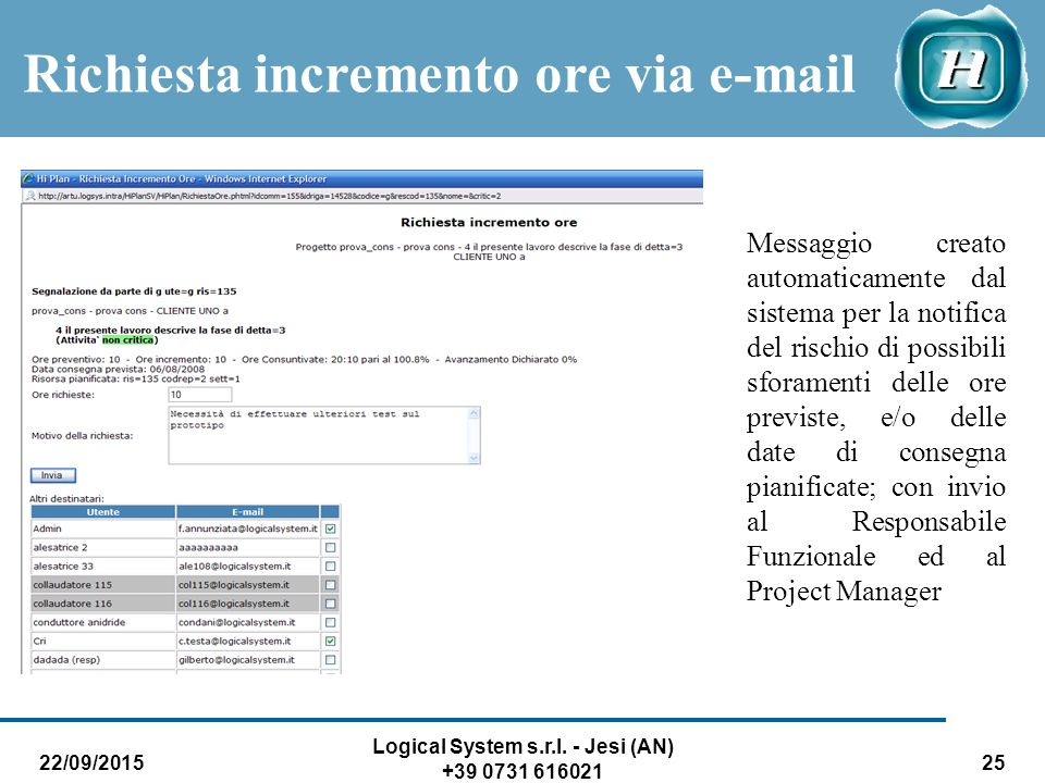 Richiesta incremento ore via e-mail