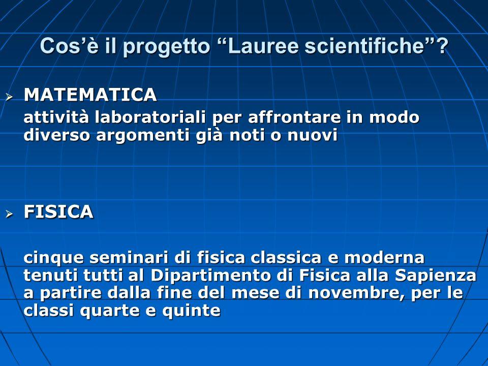 Cos'è il progetto Lauree scientifiche