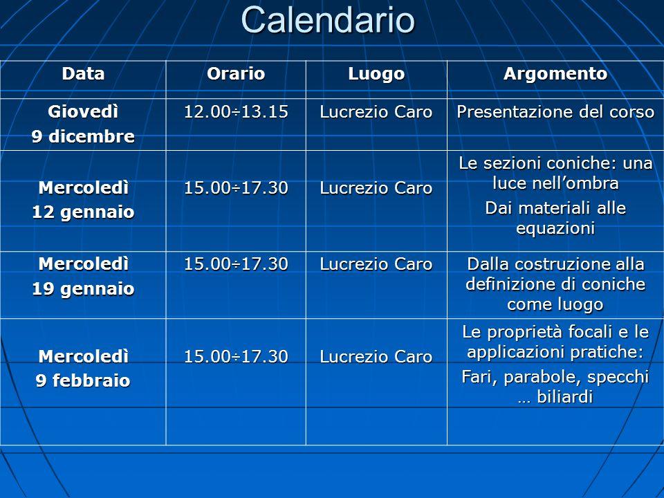 Calendario Data Orario Luogo Argomento Giovedì 9 dicembre 12.00÷13.15