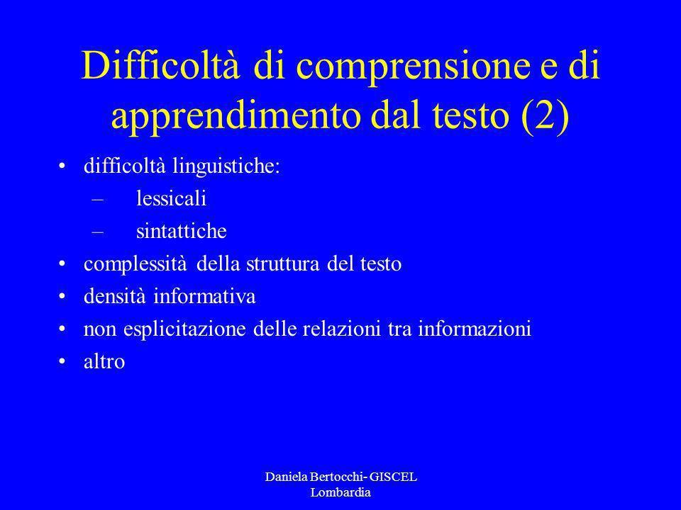 Difficoltà di comprensione e di apprendimento dal testo (2)