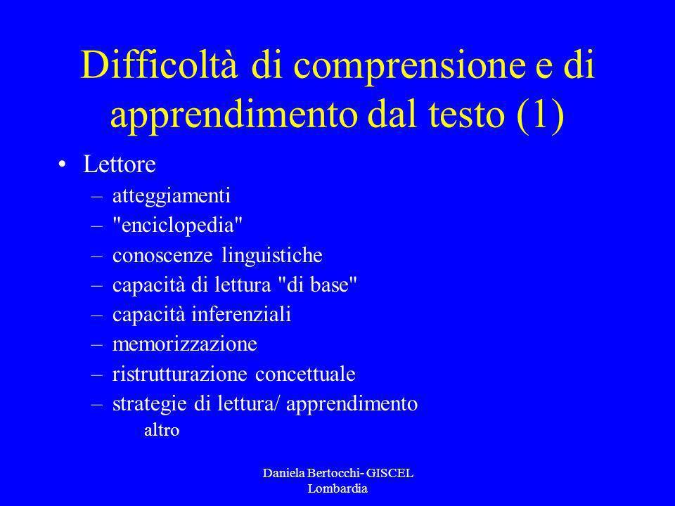 Difficoltà di comprensione e di apprendimento dal testo (1)