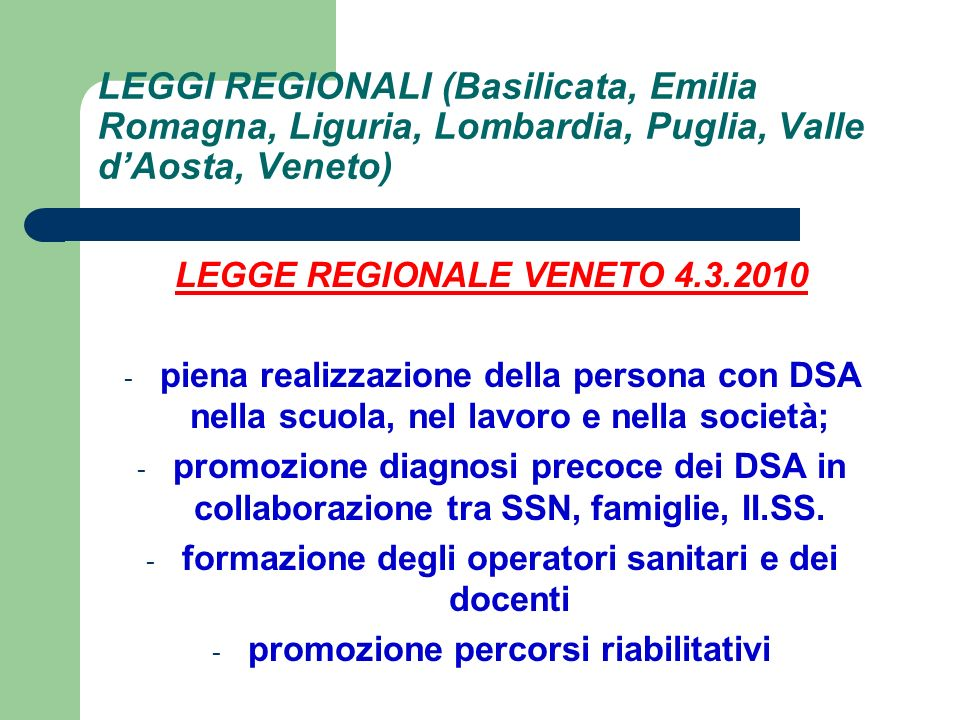 LEGGI REGIONALI (Basilicata, Emilia Romagna, Liguria, Lombardia, Puglia, Valle d'Aosta, Veneto)