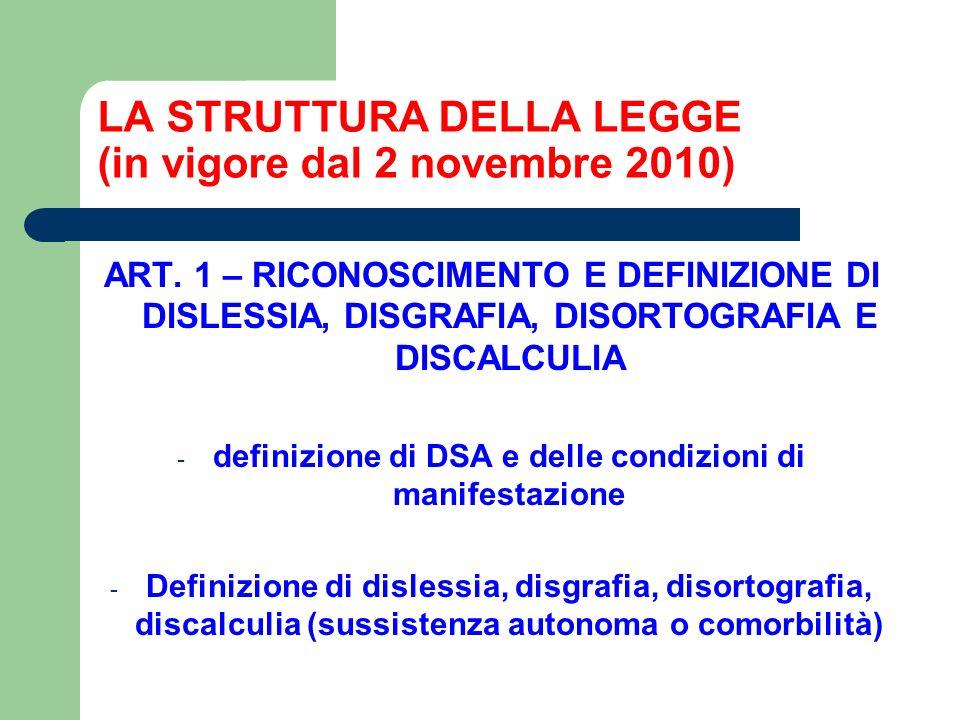 LA STRUTTURA DELLA LEGGE (in vigore dal 2 novembre 2010)