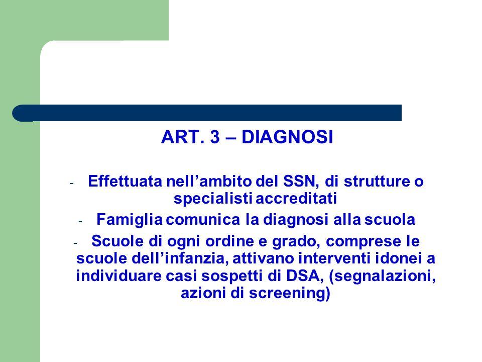 ART. 3 – DIAGNOSI Effettuata nell'ambito del SSN, di strutture o specialisti accreditati. Famiglia comunica la diagnosi alla scuola.