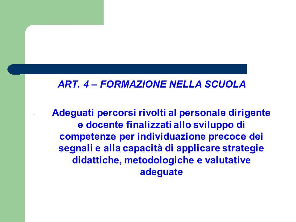 ART. 4 – FORMAZIONE NELLA SCUOLA