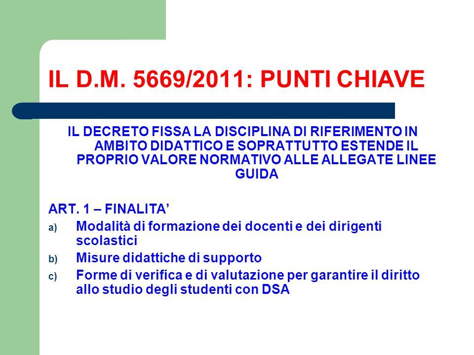 IL D.M. 5669/2011: PUNTI CHIAVE