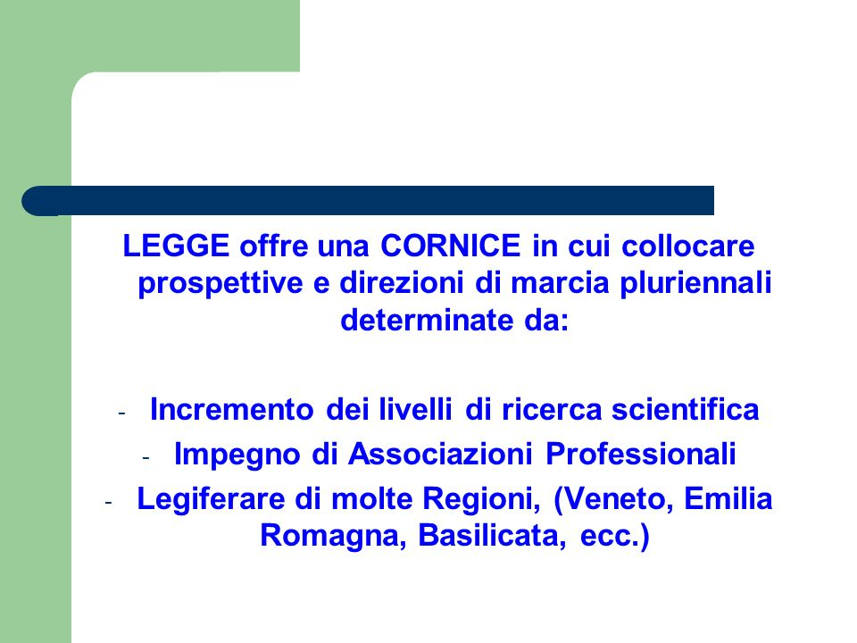 Incremento dei livelli di ricerca scientifica