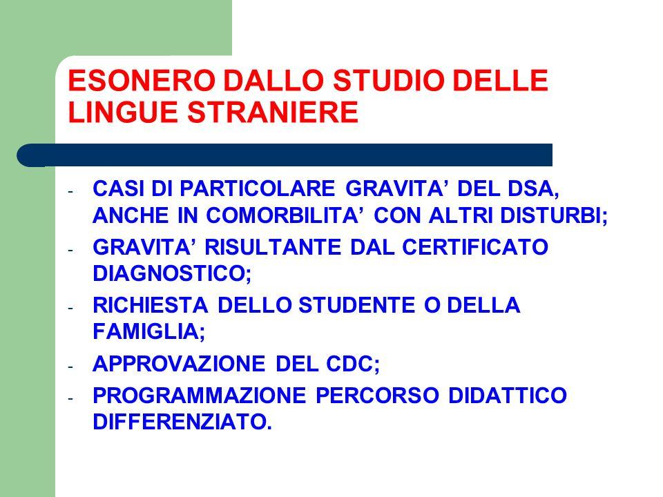 ESONERO DALLO STUDIO DELLE LINGUE STRANIERE