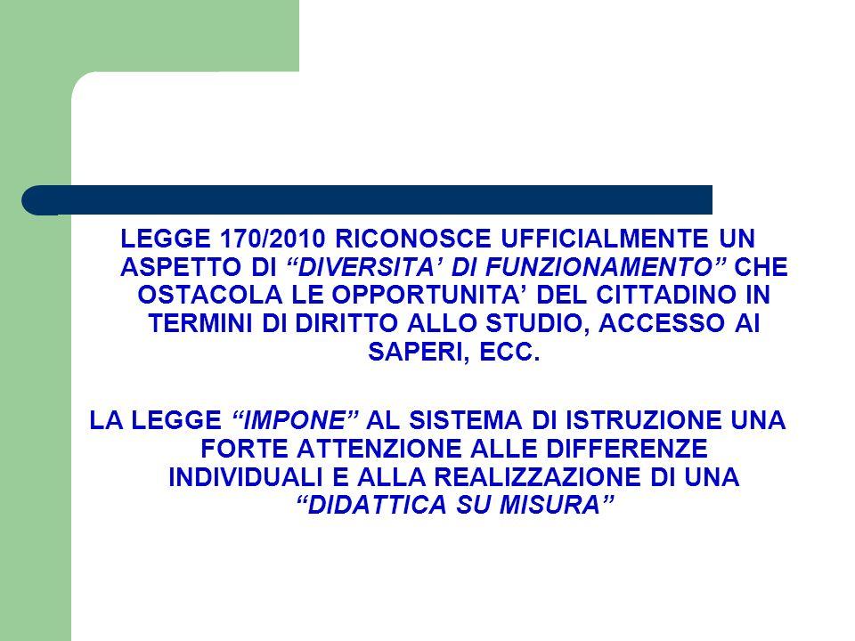 LEGGE 170/2010 RICONOSCE UFFICIALMENTE UN ASPETTO DI DIVERSITA' DI FUNZIONAMENTO CHE OSTACOLA LE OPPORTUNITA' DEL CITTADINO IN TERMINI DI DIRITTO ALLO STUDIO, ACCESSO AI SAPERI, ECC.