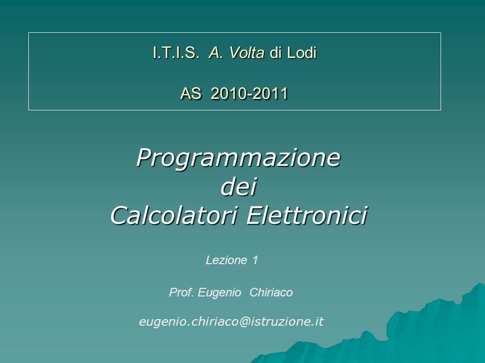 Programmazione dei Calcolatori Elettronici