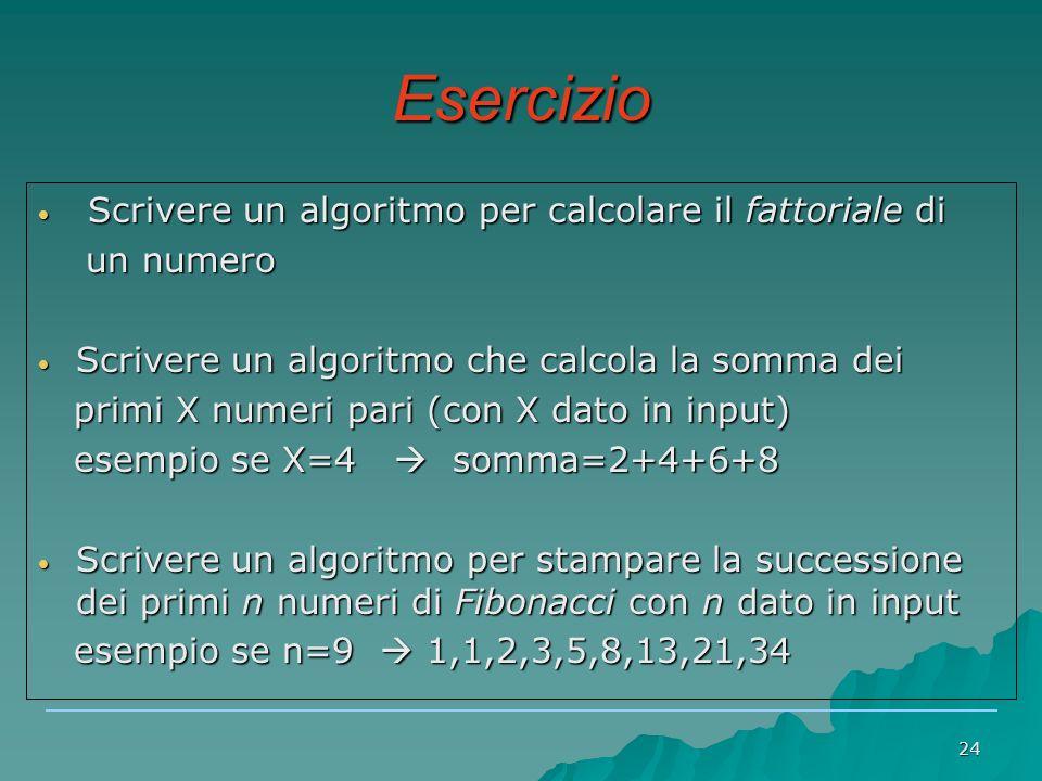 Esercizio Scrivere un algoritmo per calcolare il fattoriale di