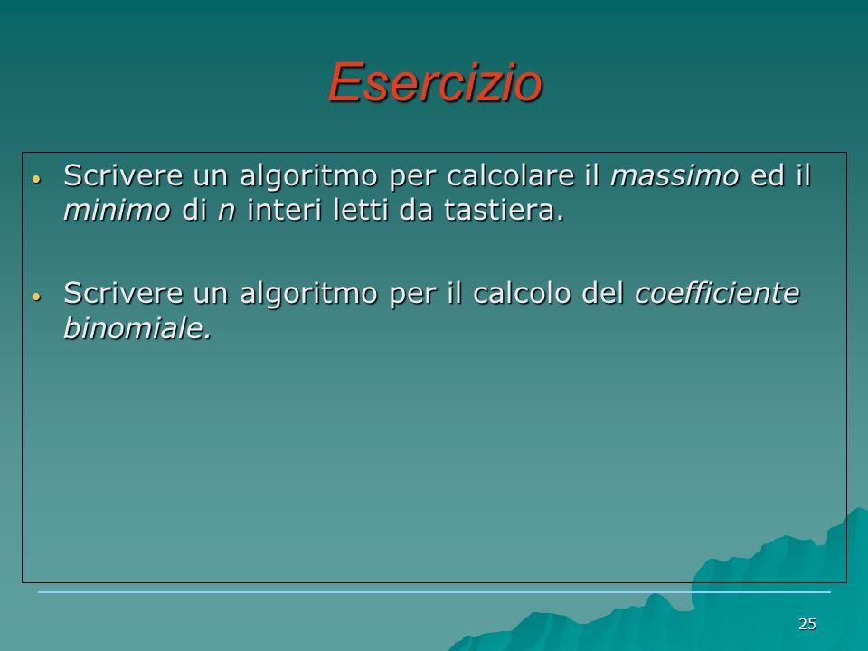 Esercizio Scrivere un algoritmo per calcolare il massimo ed il minimo di n interi letti da tastiera.