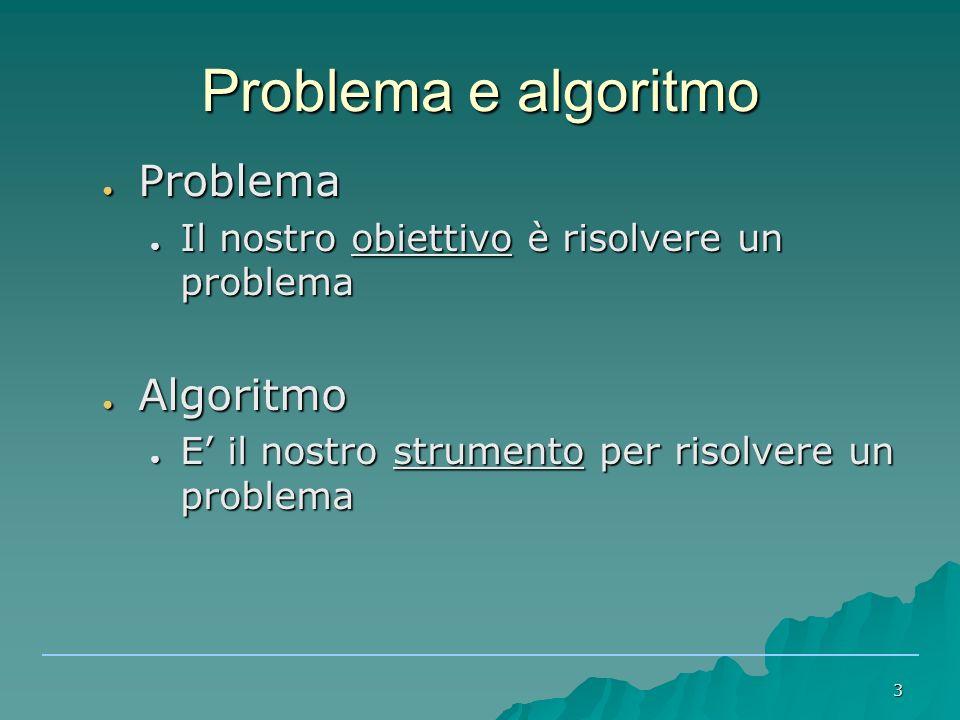 Problema e algoritmo Problema Algoritmo