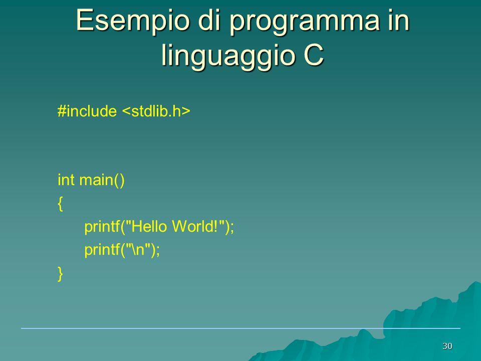 Esempio di programma in linguaggio C
