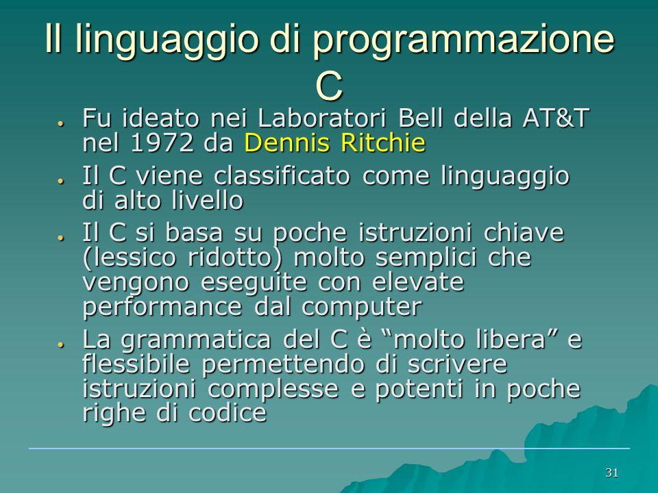 Il linguaggio di programmazione C