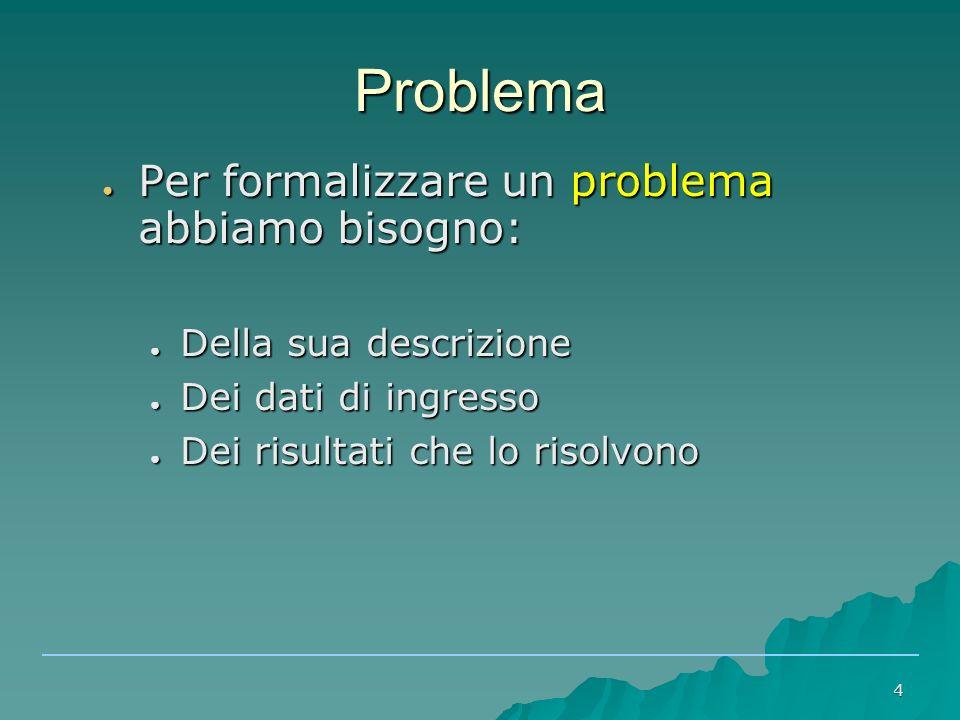 Problema Per formalizzare un problema abbiamo bisogno: