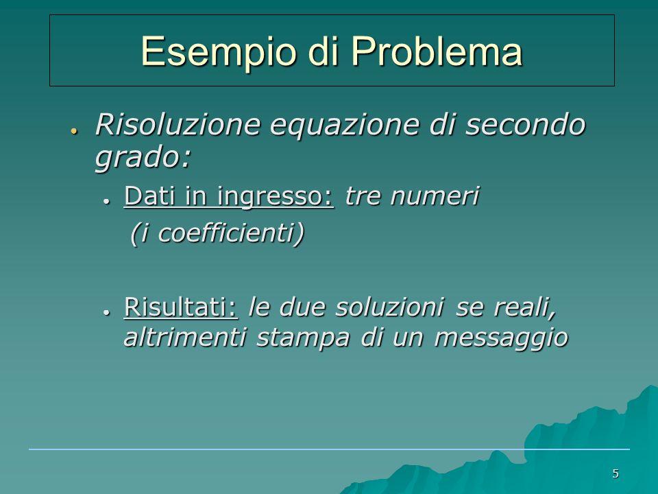 Esempio di Problema Risoluzione equazione di secondo grado: